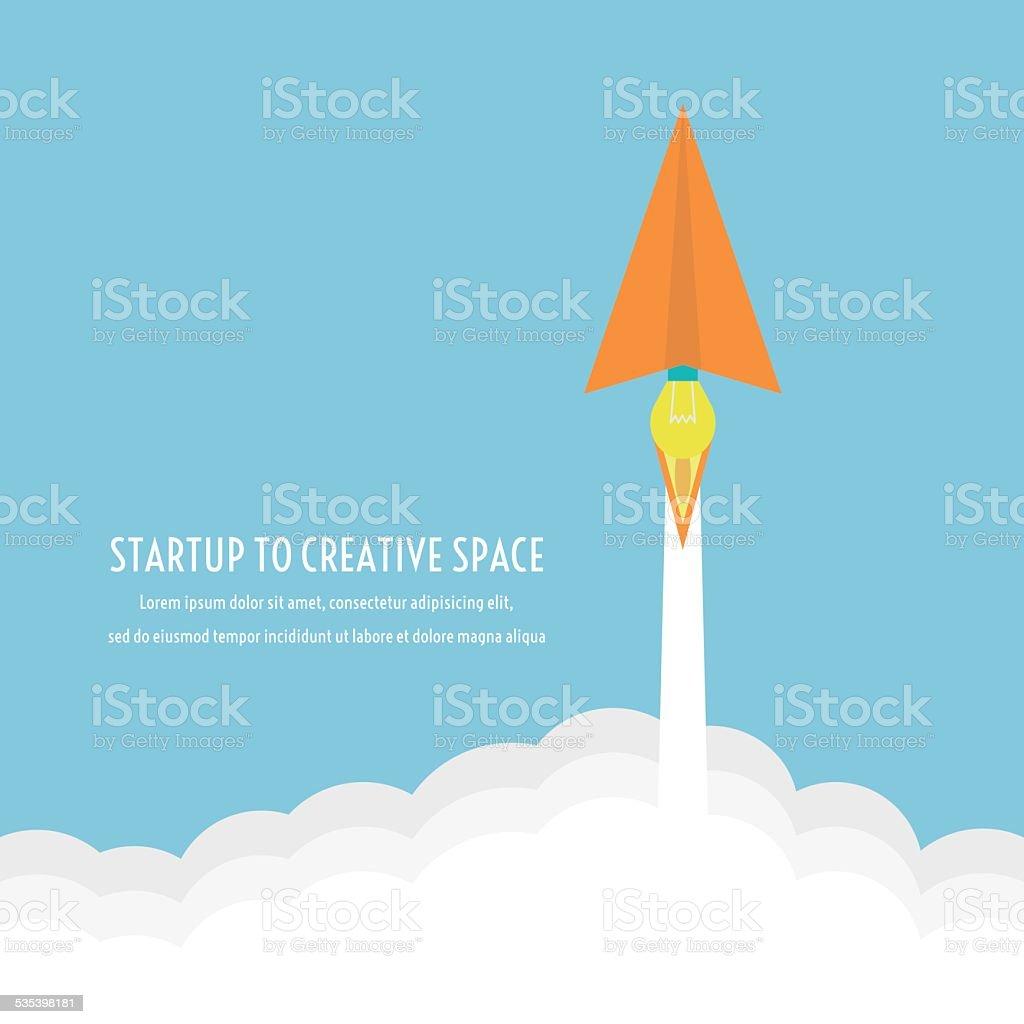 paper plane launcher vector art illustration