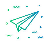 Paper plane outline style icon design with decorations and gradient color. Line vector icon illustration for modern infographics, mobile designs and web banners.