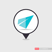 Paper plane, message flat pin map icon. E-commerce sign. Map pointer. Map markers. Destination vector icon. Graph symbol for your web site design, logo, app, UI. Vector illustration, EPS10.