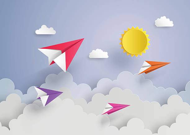 paper plane on blue sky paper plane on blue sky with cloud paper craft stock illustrations