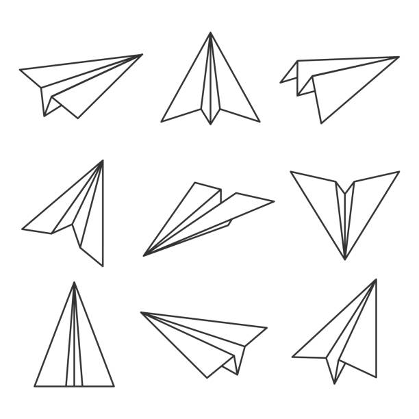 Paper plane outline Paper plane outline. Glider, made out of folded paper, toy aircraft for easy flight. Vector line art illustration isolated on white background paper airplane stock illustrations
