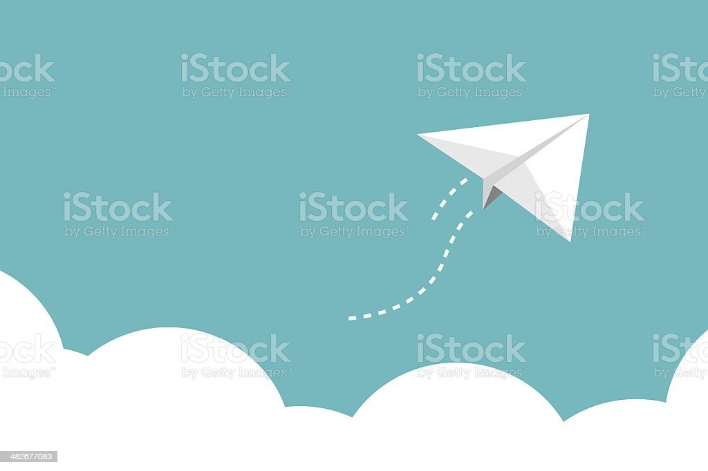 Paper plane over cloud on light blue background royalty-free stock vector art