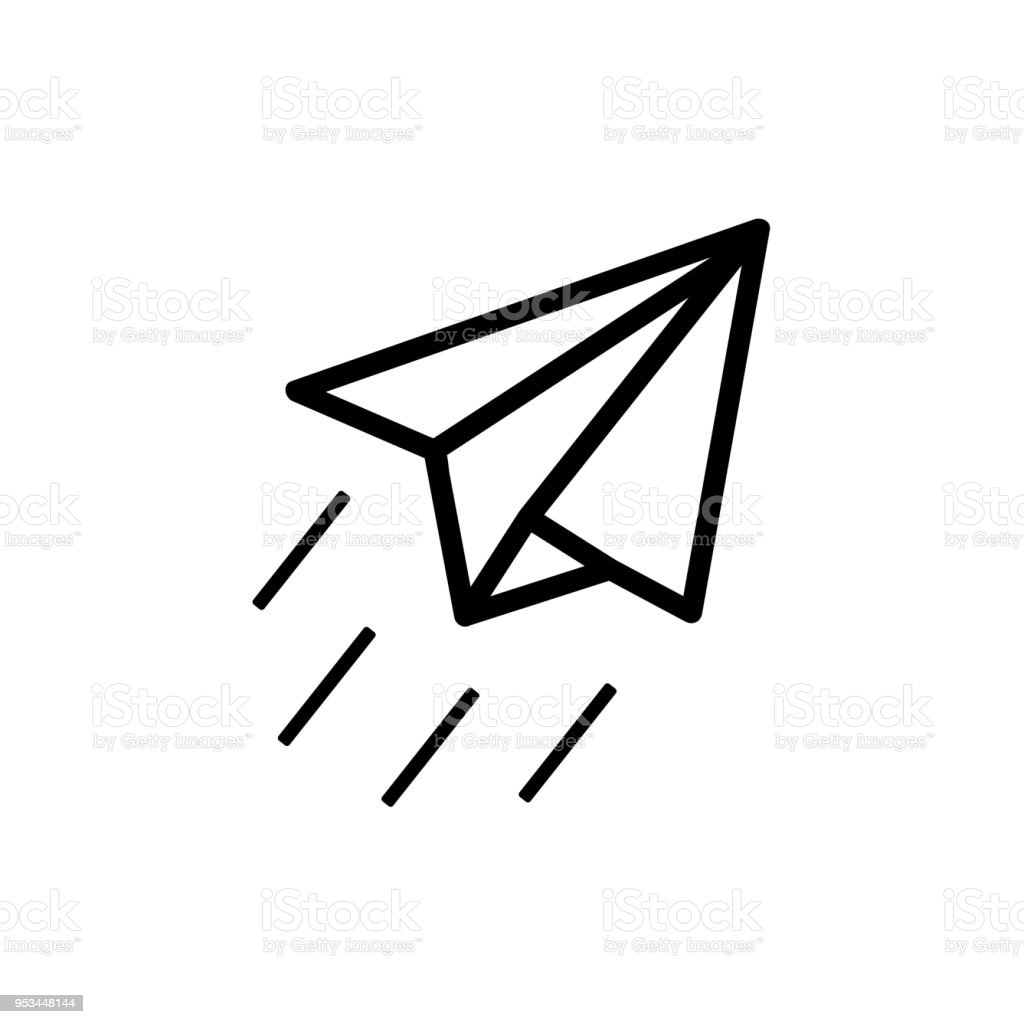 Paper Plane Sign Airplane Symbol Travel Outline Icon Stock Vector