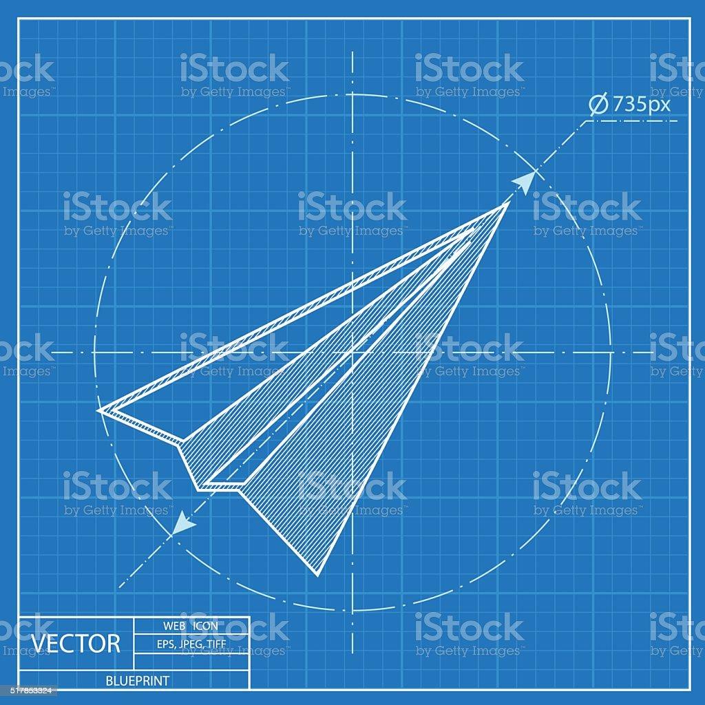 Paper plane sign airplane symbol travel vector blueprint icon stock paper plane sign airplane symbol travel vector blueprint icon royalty free paper malvernweather Images