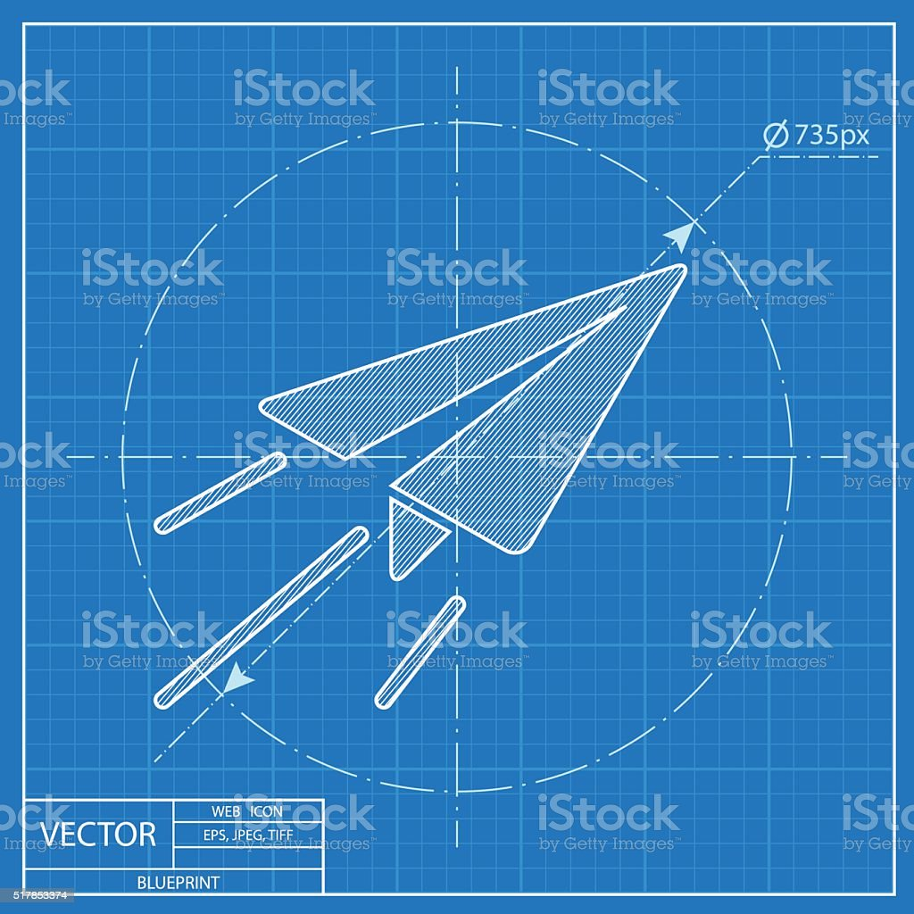 Paper plane sign airplane symbol travel vector blueprint icon paper plane sign airplane symbol travel vector blueprint icon royalty free paper malvernweather Choice Image