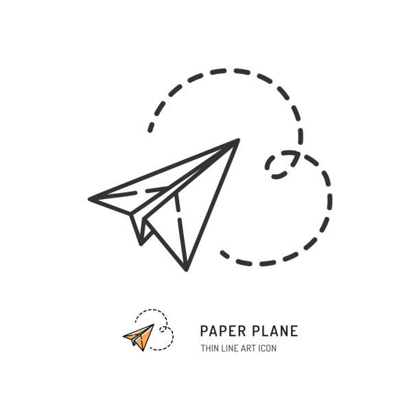 Paper plane thin line icon. Vector flat illustration Paper plane thin line icon. Vector flat illustration paper airplane stock illustrations