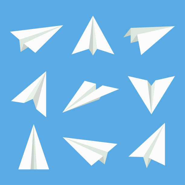 Paper plane vector set Paper plane vector set. Paper plane in flat style. Paper plane icon. Paper plane isolated from background. Origami plane collection. Handmade paper plane. paper airplane stock illustrations
