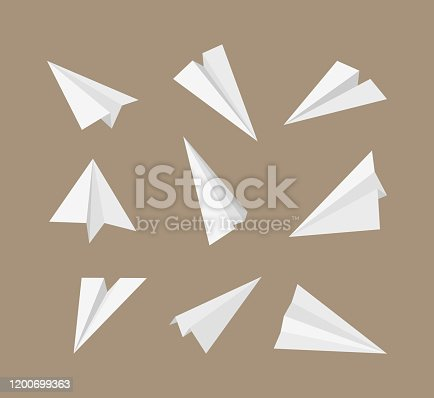 Paper planes. 3d origami aircraft flying paper travelling symbols vector set. Origami plane transport, paper aircraft illustration collection