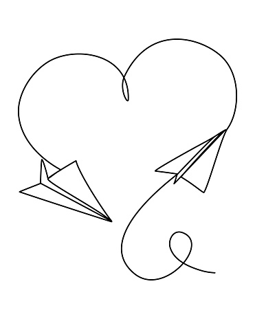 Paper Planes fly one after another Continuous Line Drawing heart-shaped Path romance travel allegory office romance Vector Illustration