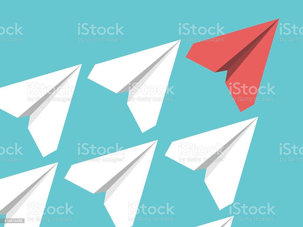 Paper planes, leadership concept vector art illustration
