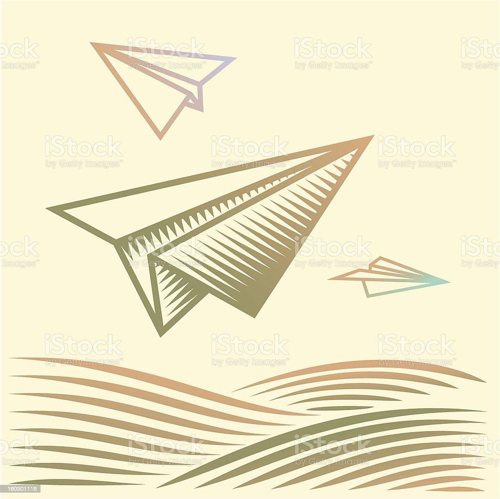 Papier Flugzeuge über dem Feld – Vektorgrafik