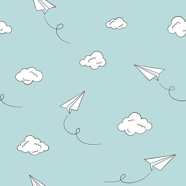 illustrazioni stock, clip art, cartoni animati e icone di tendenza di carta aerei seamless sfondo - sfondo scarabocchi e fatti a mano