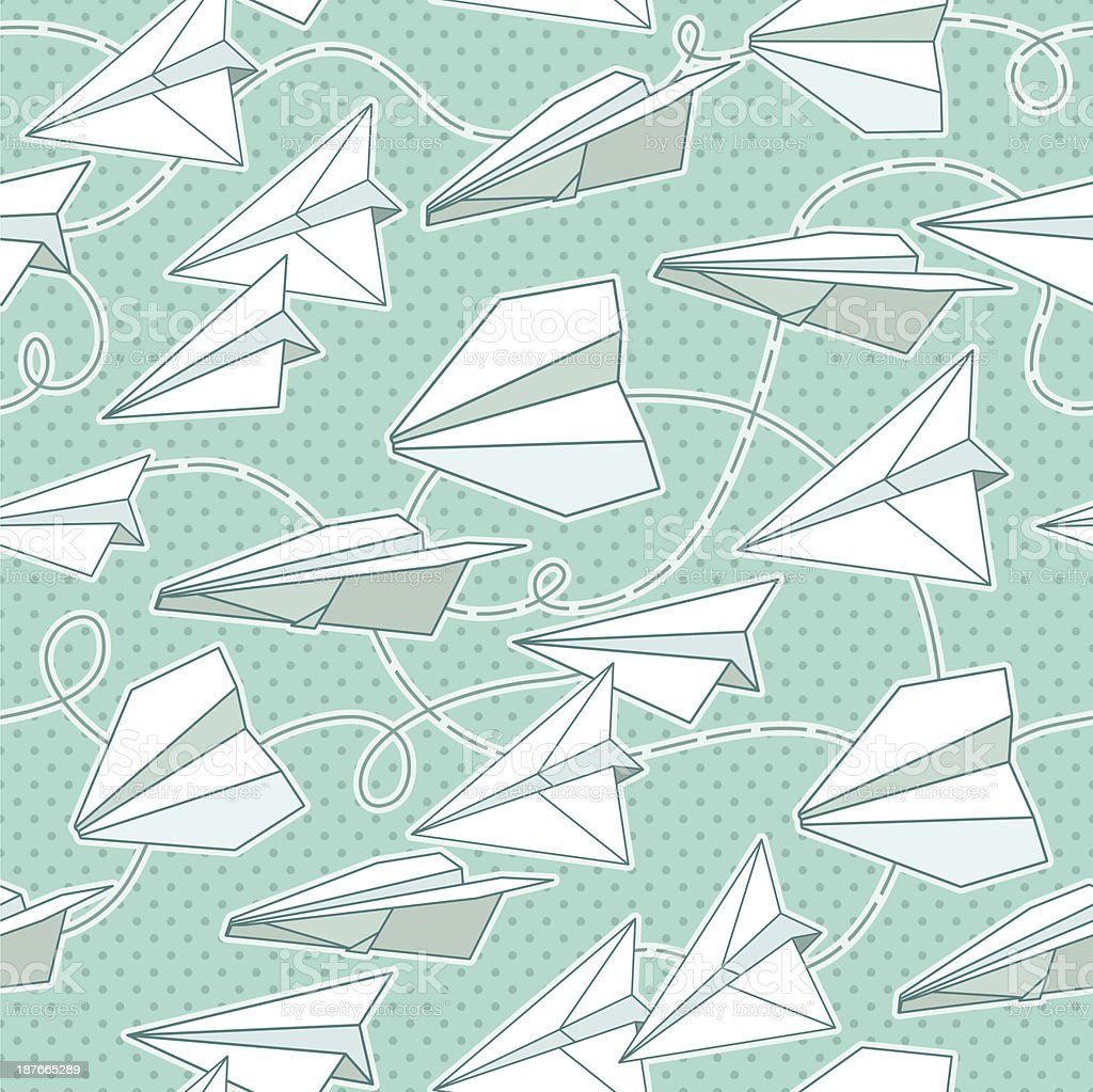 Paper planes seamless texture royalty-free stock vector art