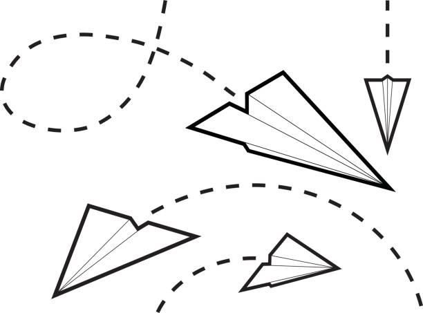 ilustrações de stock, clip art, desenhos animados e ícones de aviões de papel - exhaust white background