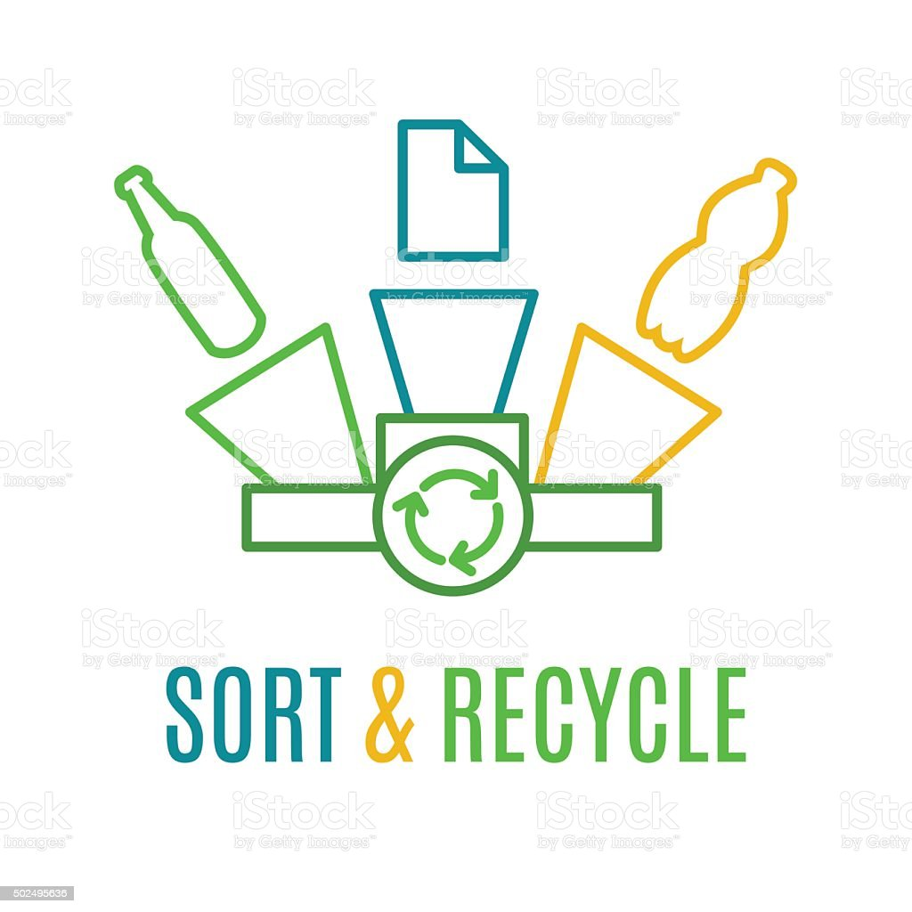 Paper Plastic And Glass Waste Recycling Logo Stock ...