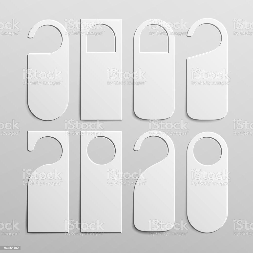 Paper Plastic Door Handle Lock Hangers Set. Realistic White Blank. Empty Mock Up. Do Not Disturb. Vector Illustration