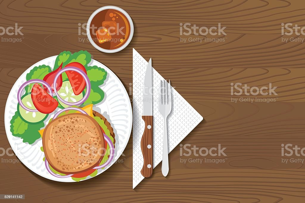 Above Aerial View Backgrounds Burger Cartoon Paper Plate Of Food