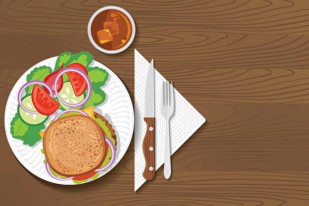 stockillustraties, clipart, cartoons en iconen met paper plate of food on a wood background - servet