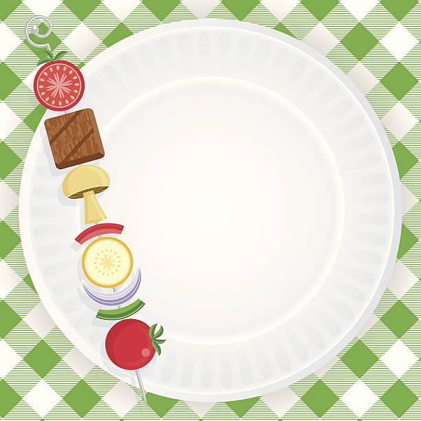 pappteller picknick-einladung - plastikteller stock-grafiken, -clipart, -cartoons und -symbole