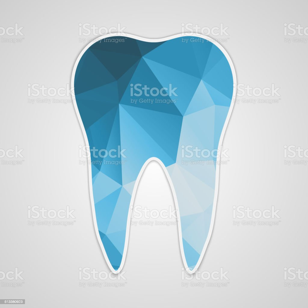 Paper polygonal blue tooth. vector art illustration
