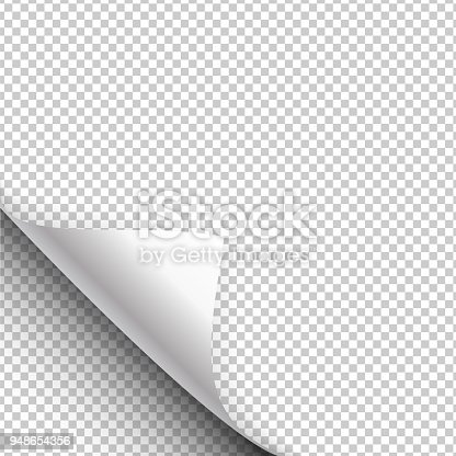 Paper poster hangs with a wrapped up corner. Curled corner with shadow on transparent background realistic vector illustration