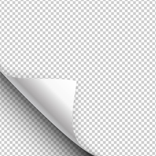 papier-plakat hängt mit eingepackt-ecke. vektor-illustration - buchseite stock-grafiken, -clipart, -cartoons und -symbole