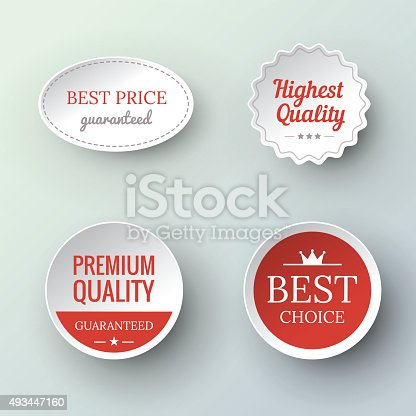istock paper Premium Quality and Guarantee Labels 493447160