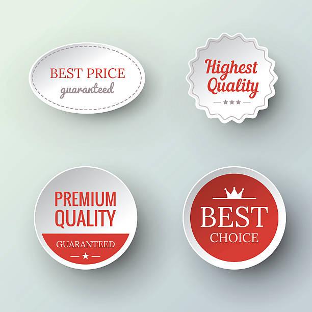 papier premium jakości i gwarancji etykiety - pieczęć znaczek stock illustrations