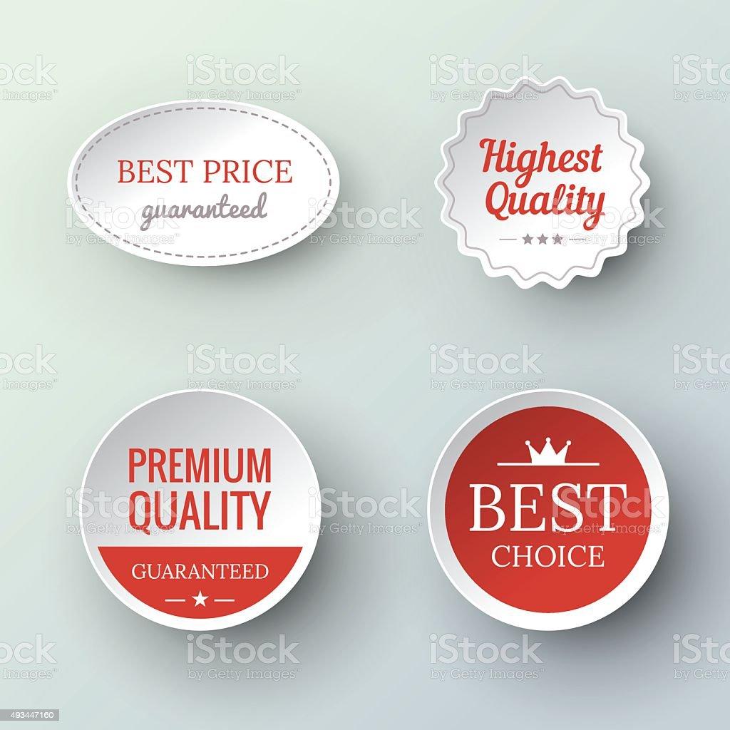 Papier Premium-Qualität und Garantie Etiketten – Vektorgrafik