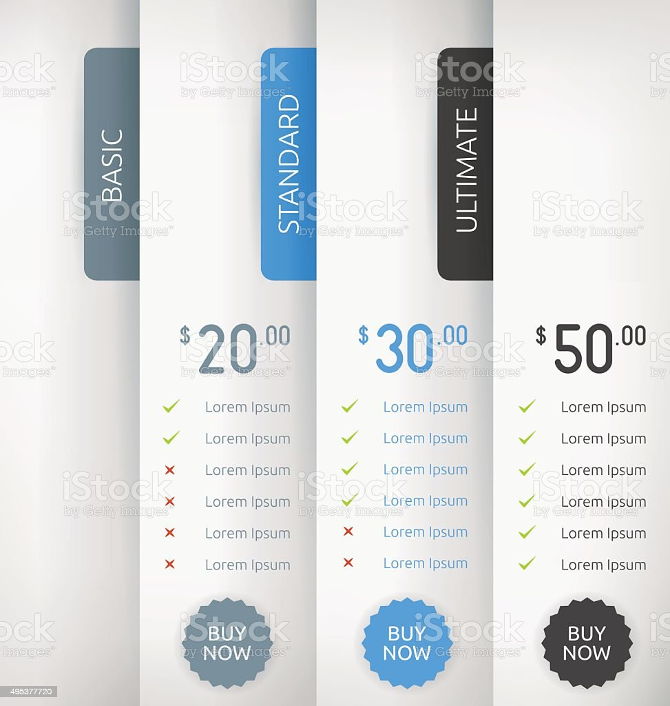 Paper Pricing Tables Vector Template Design vector art illustration