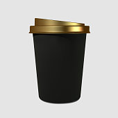 Paper realistic black coffee cup with a gold cover. Mockup coffee mugs. Disposable glass for drinks. Template for products, web banners and leaflets. Vector