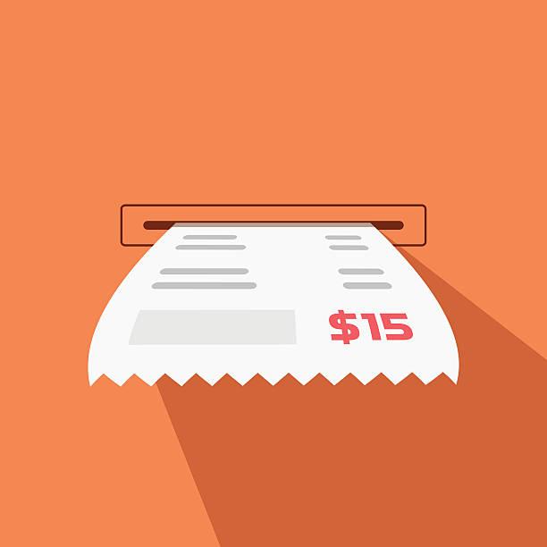 papier vektor-illustration von bargeld slot maschine - kassenbon stock-grafiken, -clipart, -cartoons und -symbole