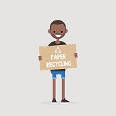 Paper recycling conceptual illustration. Waste segregation. Paper reuse. Ecology. Young black character holding a piece of recycled paper / Flat vector illustration, clip art. Editable vector. EPS