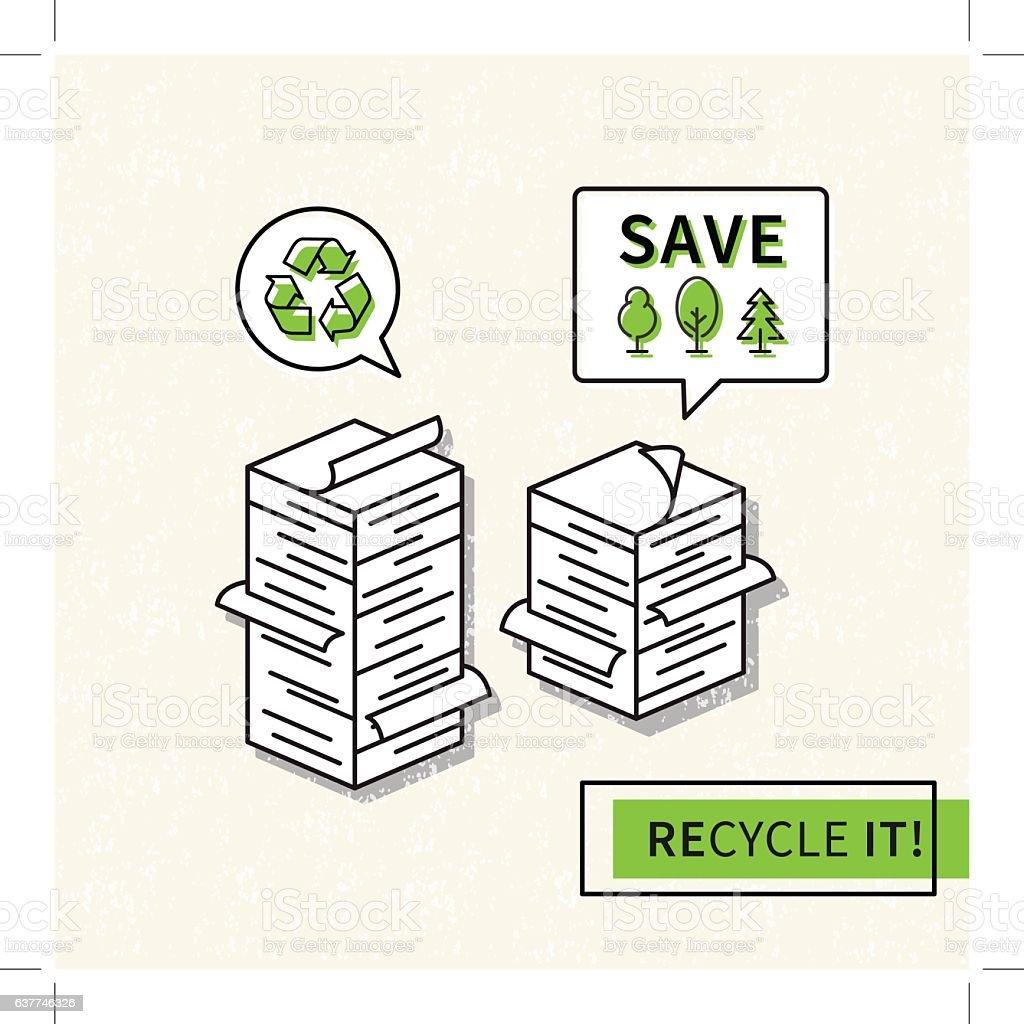 Paper recycling vector illustration vector art illustration