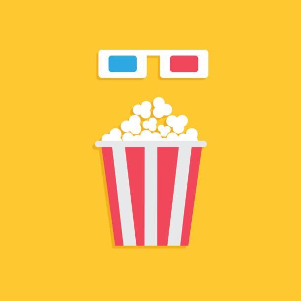 ilustrações, clipart, desenhos animados e ícones de caixa de pipoca grande e azul óculos 3d de papel vermelho. ícone de filme de cinema em estilo dsign plana. fundo amarelo. - pipoca