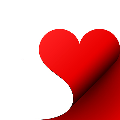 Paper red heart curled corner, vector