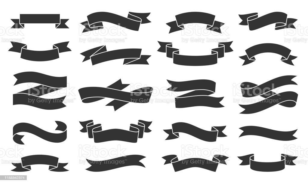 Kağıt şerit siyah siluet simgeler vektör seti - Royalty-free Basitlik Vector Art