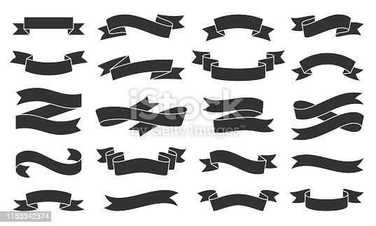 Ribbon silhouette icons set. Web sign kit of text banner. Decorative Tape pictograms of gift decoration, creative modern decor. Simple paper tag black symbol isolated on white. Vector Icon shape