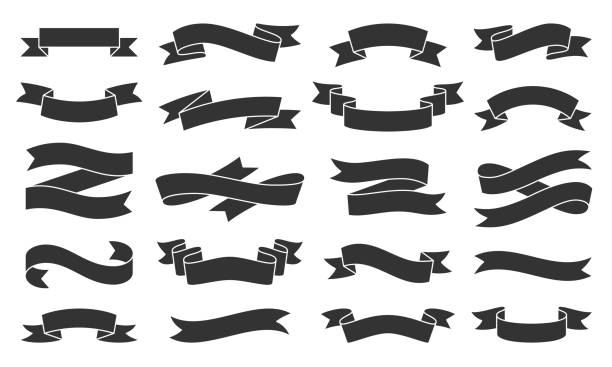 Paper Ribbon black silhouette icons vector set Ribbon silhouette icons set. Web sign kit of text banner. Decorative Tape pictograms of gift decoration, creative modern decor. Simple paper tag black symbol isolated on white. Vector Icon shape clip art stock illustrations