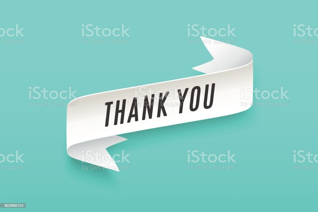 Paper ribbon with text Thank You vector art illustration