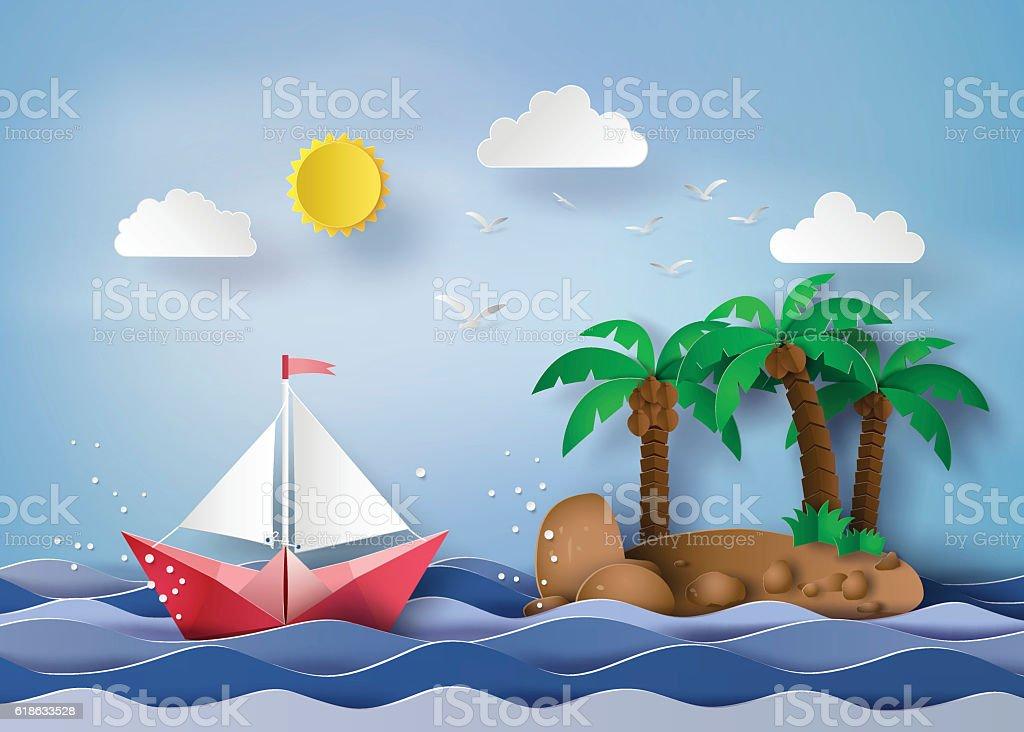 paper sailing boat vector art illustration