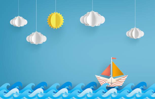 paper sailing boat - river paper stock illustrations, clip art, cartoons, & icons