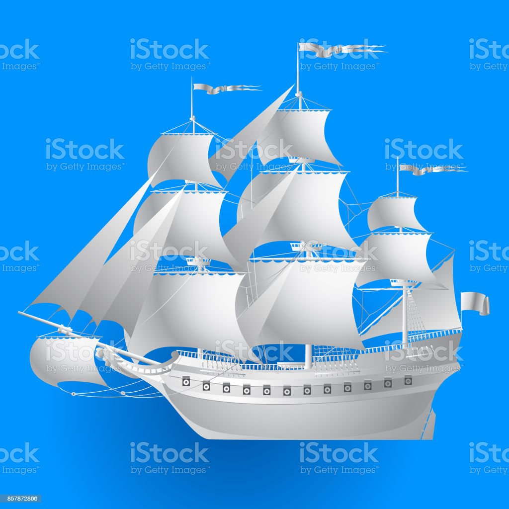 Paper sailing ship on blue background vector art illustration