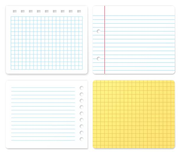paper samples with copy space - lined paper stock illustrations