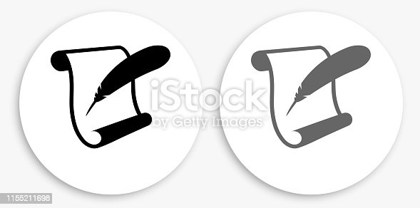 Paper Scroll and Feather Quill Black and White Round Icon. This 100% royalty free vector illustration is featuring a round button with a drop shadow and the main icon is depicted in black and in grey for a roll-over effect.