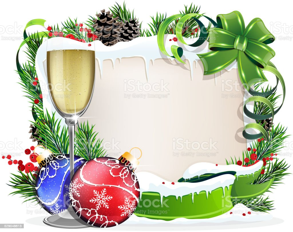 paper scroll with glass of champagne and christmas ornaments royalty free paper scroll with glass