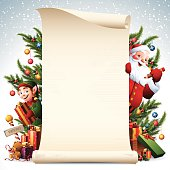 - santa and elf with christmas decoration scroll