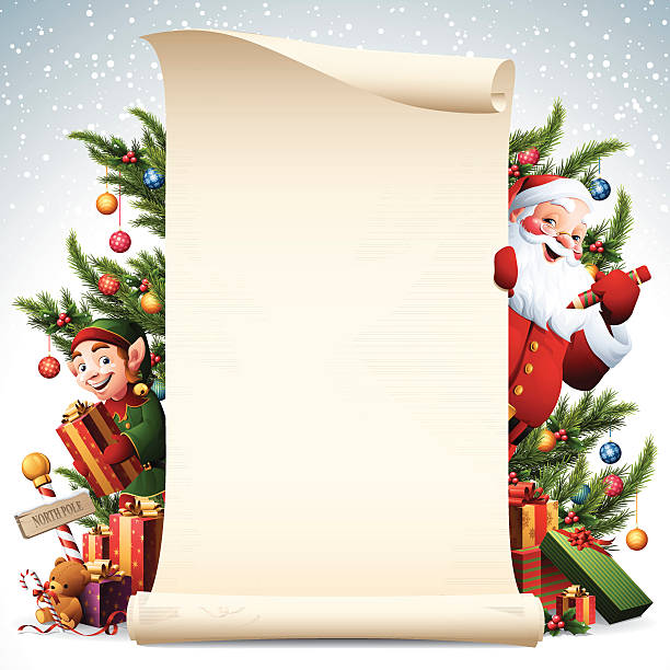 Paper scroll with Santa and Elf and christmas tree decorations - santa and elf with christmas decoration scroll north pole stock illustrations
