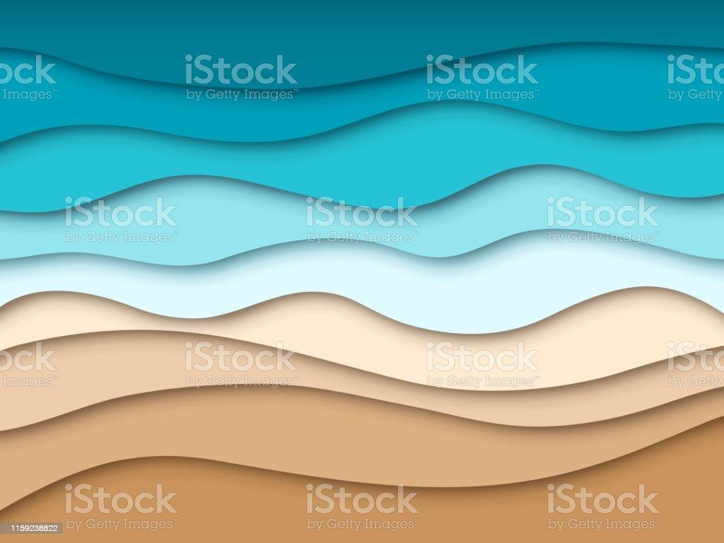 紙の海のビーチ抽象的な海の夏の旅行風景夏の3d紙カットテクスチャ
