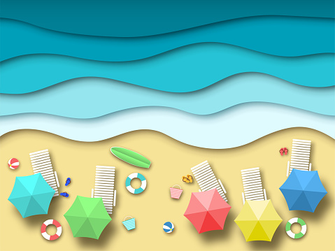 Paper sea beach. Summer holiday landscape with sand, ocean and sun, summertime relaxation 3d origami. Paper art vector background